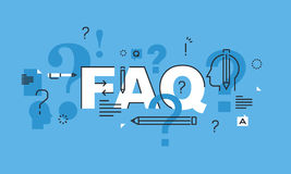 Thin line design concept for FAQ website banner Stock Photography
