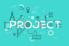 Thin line design concept for project website banner. Thin line design template for website banner. Vector illustration concept for creative or technical process Royalty Free Stock Photography