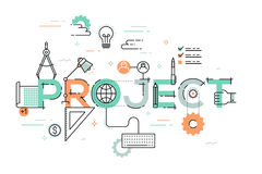 Thin line design concept for project website banner. Stock Photo