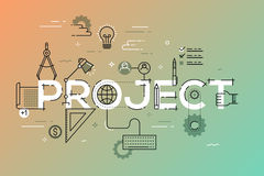 Thin line design concept for project website banner. Vector illustration concept for creative or technical process, preview of the finished projects Royalty Free Stock Image
