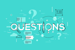 Thin line design concept for questions website banner. Thin line design concept for faq website banner. Vector illustration concept for frequently asked Vector Illustration