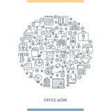 Thin line design office concept Stock Images