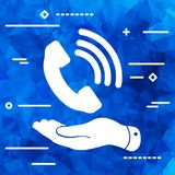 Thin line design. graphic image concept of  hand showing black p. Hone receiver icon  on a blue Triangular Polygonal background Stock Photo