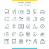 Thin line design travel icons Stock Image