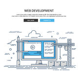 Thin line design website under construction. web page building process Stock Image