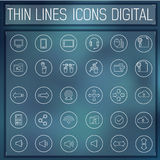 Thin line digital gadget set icons concept. Vector Stock Image
