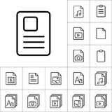 Thin line document icon, different type file icons set on white. Background Royalty Free Stock Photo