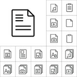 Thin line document icon, different type file icons set on white. Background Royalty Free Stock Photography