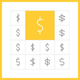 Thin line dollar sign. Set of simple thin line dollar icons. Dollar sign, money pictogram, finance button, banking design. Vector illustration Royalty Free Stock Photography
