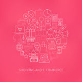 Thin Line E-commerce Business Money Icons Set. Circle Shaped Concept. Vector Illustration of Online Shopping and Finance Objects over Blurred Pink Background Royalty Free Stock Photo