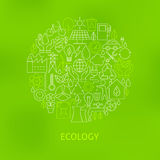 Thin Line Eco Green Power Icons Set Circle Concept. Vector Illustration of Ecology Environment Objects over Green Blurred Background royalty free illustration
