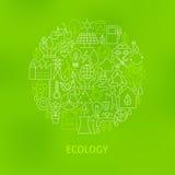 Thin Line Eco Green Power Icons Set Circle Concept Stock Photo