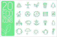 Thin line eco neture set icons concept. Vector Stock Photos