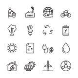 Thin line ecology energy icon set, vector eps10 Royalty Free Stock Photo