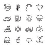 Thin line ecology energy icon set 2, vector eps10 Stock Images