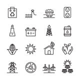 Thin line ecology energy icon set 3, vector eps10 Stock Images