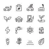 Thin line ecology icon set, vector eps10 Stock Photos