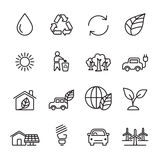Thin line ecology icon set 5, vector eps10 Royalty Free Stock Images