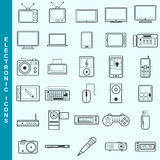 Thin line electronic devices vector icons set Royalty Free Stock Photo