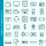 Thin line electronic devices vector icons set Stock Photos