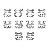 Thin line emoticon icon set. Collection of emoticon icon vector Royalty Free Stock Photo