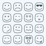 Thin line emotional square yellow faces icon Royalty Free Stock Photos