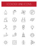 Thin Line Energy,power and environment icon set.Vector. Royalty Free Stock Image