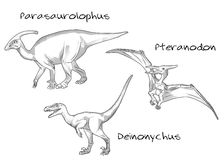 Thin line engraving style illustrations, various kinds of prehistoric dinosaurs, it includes parasaurolophus, pteranodon Stock Image