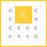 Thin line euro sign. Set of simple thin line euro icons. Euro sign, money pictogram, finance button, banking design. Vector illustration Stock Photo