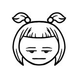 Thin line expressionless face icon Stock Image