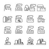 Thin line factory plant building icon set, vector eps10 Royalty Free Stock Image