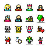 Thin line Family icons set, vector illustration Royalty Free Stock Photos
