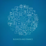 Thin Line Finance Business Money Icons Set Circle Shaped Concept. Vector Illustration of Banking and Financial Objects over Blurred Blue Background Royalty Free Stock Image