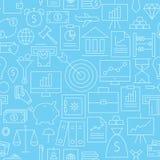 Thin Line Finance Business Money Seamless Blue Pattern Stock Image