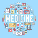 Thin line first medical aid modern illustration concept. Infographic way from medicine chest to equpment. Icons on Stock Images