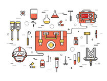 Thin line first medical aid modern illustration concept. Infographic way from medicine chest to equpment. Icons on Royalty Free Stock Photography