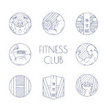 Thin line of fitness icons Royalty Free Stock Photography