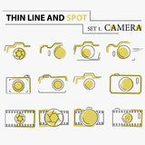 Thin line, flat camera icons. On the white background Stock Photo
