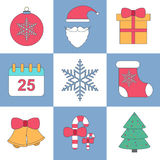 Thin line flat christmas set icon vector. Design template stock illustration