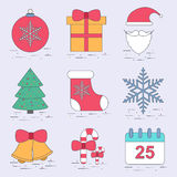 Thin line flat christmas set icon vector design template. EPS10 stock illustration