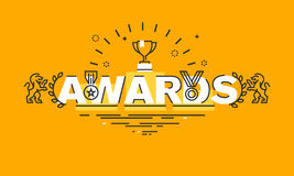 Thin line flat design banner for awards web page. Information about awards for the quality of products and services, humanitarian work, success in business Royalty Free Stock Photo