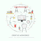Thin line flat design banner of Creative Workspace for website and mobile. Stock Image