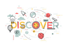 Thin line flat design banner for discover web page. New solutions, technology, knowledge and science. Modern vector illustration concept of word discover for stock illustration