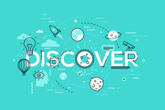 Thin line flat design banner for discover web page Royalty Free Stock Images