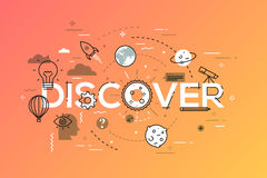 Thin line flat design banner for discover web page Stock Image