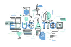 Thin line flat design banner of education web page Royalty Free Stock Image