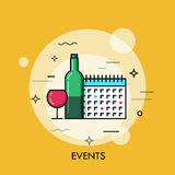 Thin line flat design banner for events web page. Calendar, planning, marketing. Modern style logo vector illustration concept Stock Photography