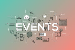 Thin line flat design banner for events web page, calendar, planning, marketing. Template for website and mobile application, easy to use and highly royalty free illustration