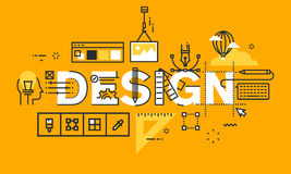 Thin line flat design banner of graphic design solutions. Modern vector illustration concept of word design for website and mobile website banners, easy to Royalty Free Stock Images