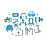 Thin line flat design banner of safety work. Icons including tools and protection elements. Modern vector illustration concept, isolated on white background Royalty Free Stock Photography